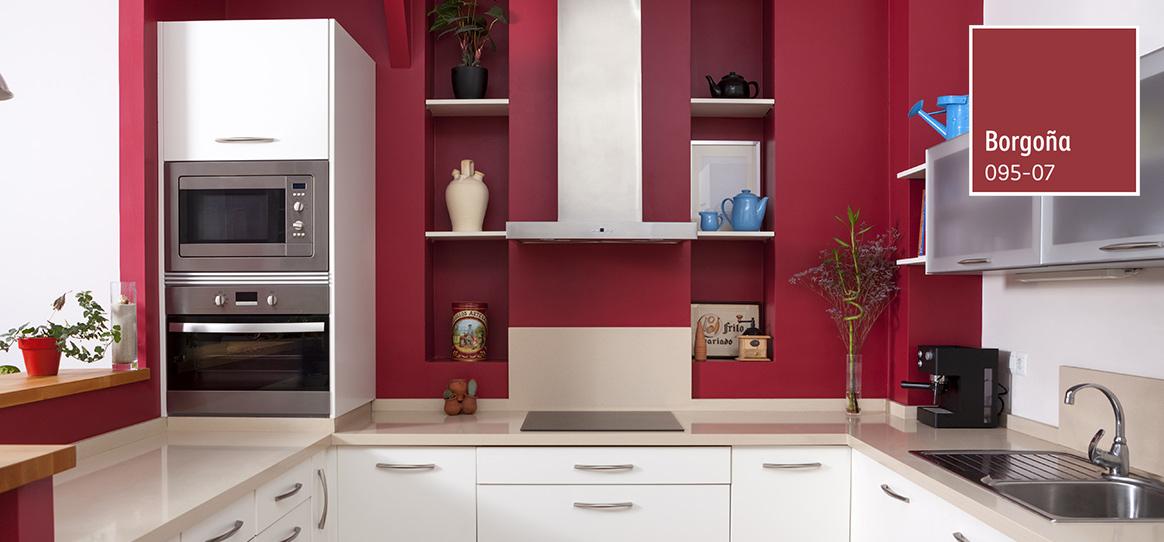 Decoraci n de espacios para cocinas comex for Pintura cocina pato azul